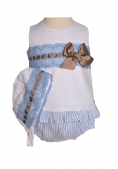 exklusives Baby Outfit in weiß/blau